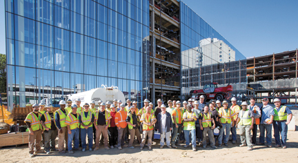 At The SUNY Stony Brook Medical Research Translation MART Building Jobsite Are IBEW Local 25 Crew Members And Foremen Working With GLS Electric Bana