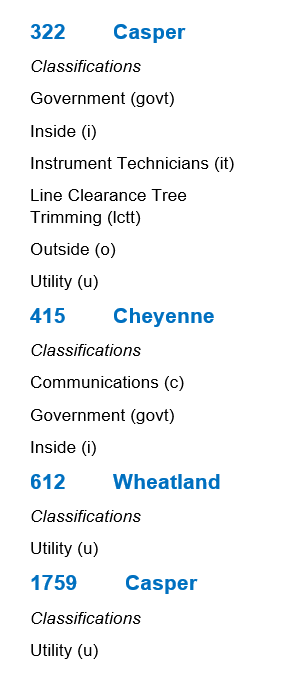 Wyoming Classifications